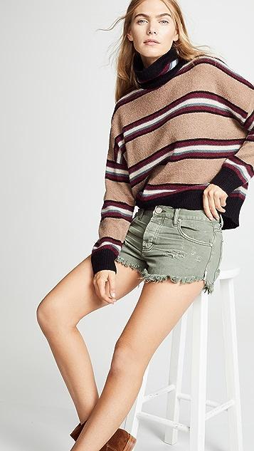 One Teaspoon Brandos Relaxed Fit Denim Shorts