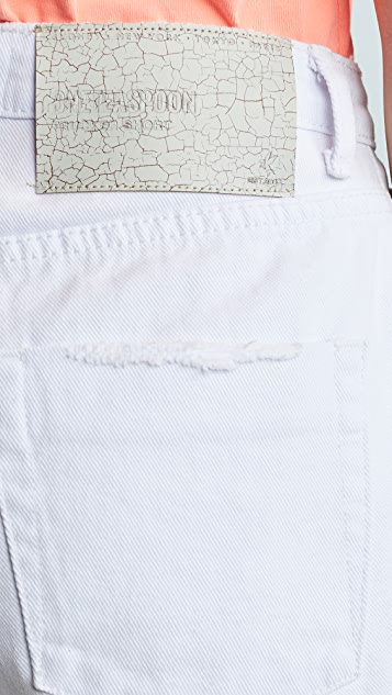 One Teaspoon White Beauty Trucker Shorts
