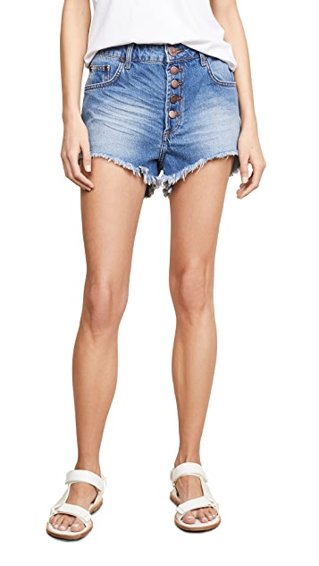 One Teaspoon Atlantis Outlaws Mid Length Denim Shorts