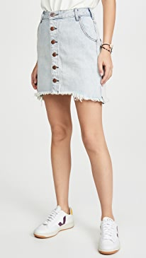 Old West Viper High Waist Button Through Miniskirt