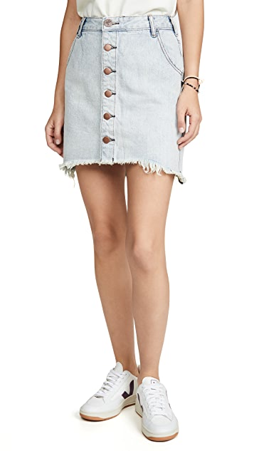 One Teaspoon Old West Viper High Waist Button Through Miniskirt