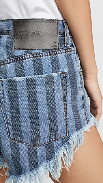 One Teaspoon Zephyr Outlaws Mid Length Denim Shorts