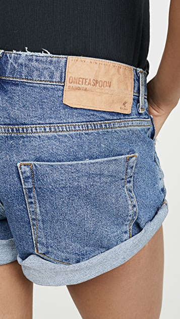 One Teaspoon Wash Bandits Denim Shorts