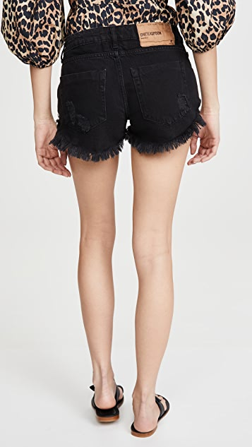 One Teaspoon Dukes Low Waist Mini Denim Shorts