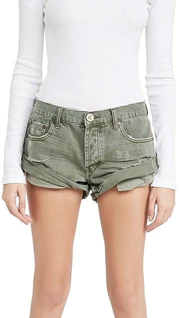 One Teaspoon Super Khaki Bandits Denim Shorts