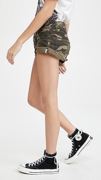 One Teaspoon Camo Bandit Low Waist Denim Shorts