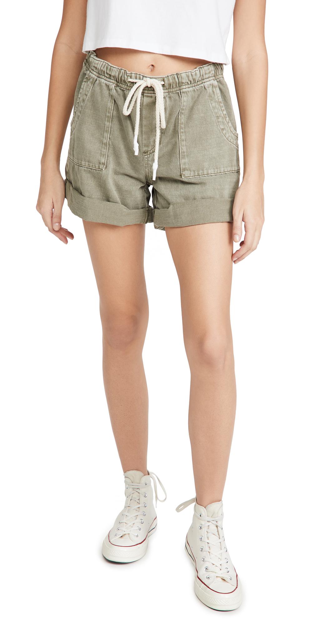 One Teaspoon Vintage Khaki Shabby Bandit Denim Shorts