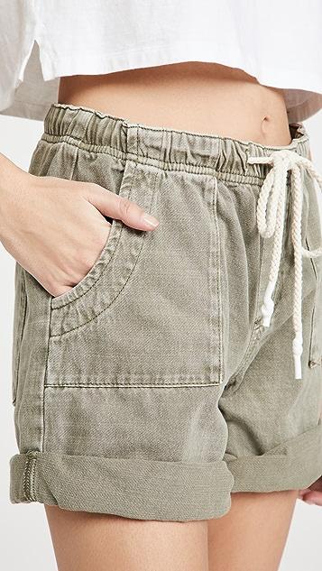 One Teaspoon Shabby Bandit 复古卡其牛仔布短裤