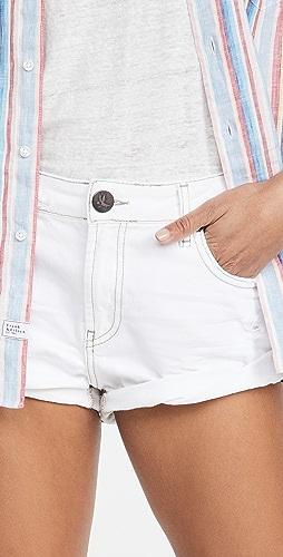 One Teaspoon - White Beauty Bandits 低腰牛仔布短裤