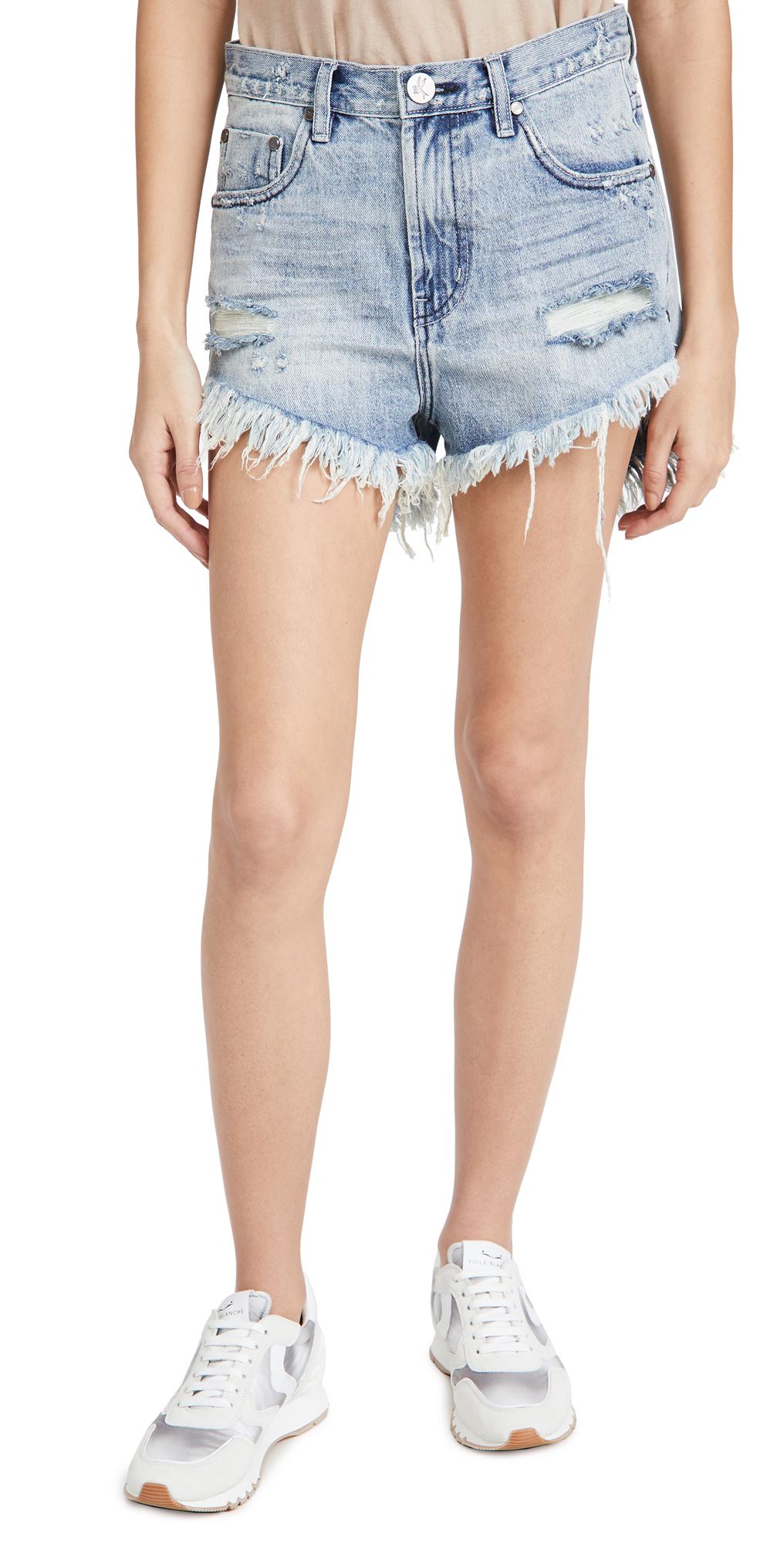 One Teaspoon Salty Dog Outlaws Mid Length Cutoff Denim Shorts