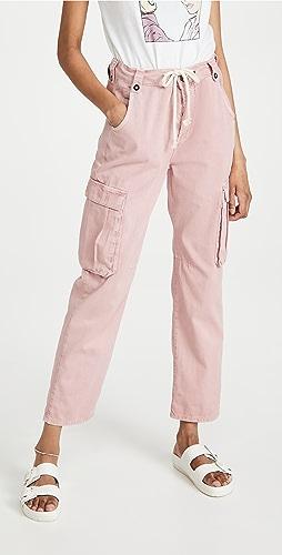 One Teaspoon - 做旧粉色工装狩猎风格中腰休闲牛仔裤