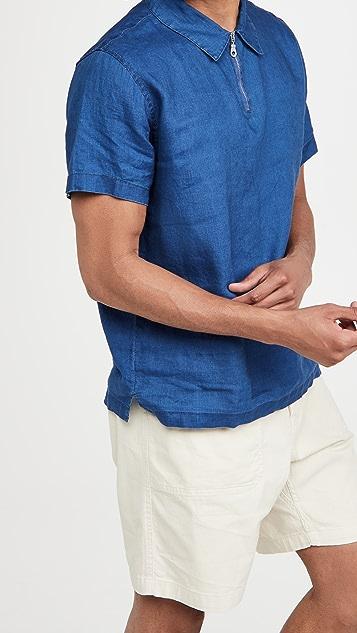 Onia Short Sleeve Linen Shirt with Zipper