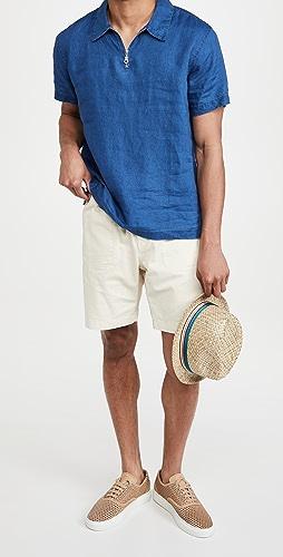 Onia - Short Sleeve Linen Shirt with Zipper