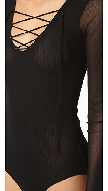 Only Hearts Tulle Lace Up Bodysuit