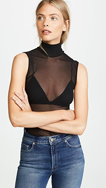 Only Hearts Tulle Turtleneck Tank - Black