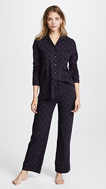 Only Hearts Twin Hearts Piped Pajama Set