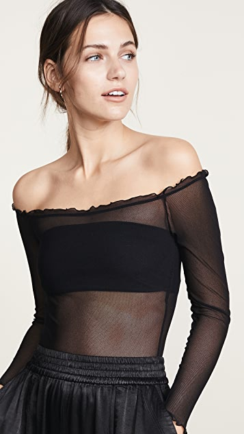 Only Hearts Mesh Off Shoulder Bodysuit