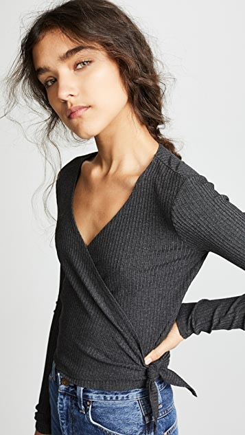 Only Hearts Long Sleeve Wrap Rib Top - Carbon