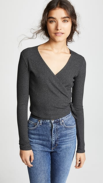 Only Hearts Long Sleeve Wrap Rib Top