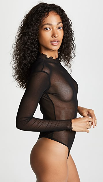 Only Hearts Ruffle Mock Neck Thong Bodysuit