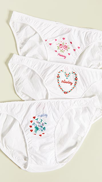 Only Hearts Long Weekend 3-Pack Embroidered Bikini Panties
