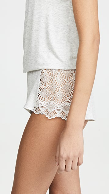 Only Hearts Hipster Sleep Shorts with Lace Insets