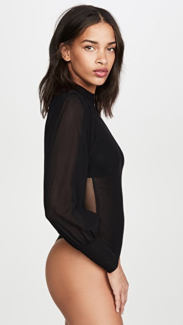 Only Hearts Pleat Sleeve Thong Bodysuit