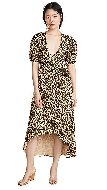 Valencia & Vine Платье с запахом и леопардовым принтом