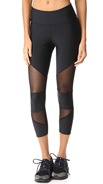 Onzie Mesh Cutout Capri Leggings - Black