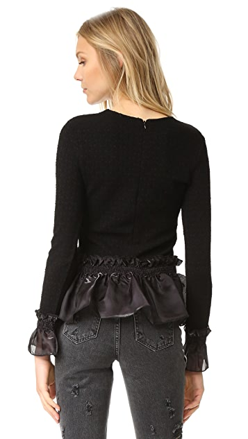 Opening Ceremony Floral Jersey Ruffle Top