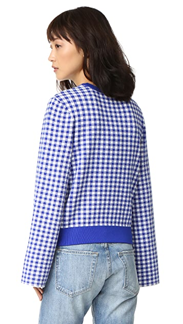 Opening Ceremony Gingham Map Embroidered Sweater
