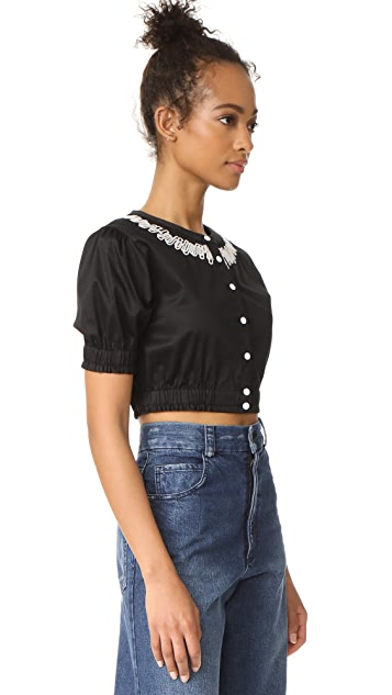 Opening Ceremony Embroidered Cropped Button Down Shirt