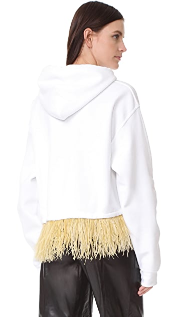 Opening Ceremony Cropped Feather Hoodie