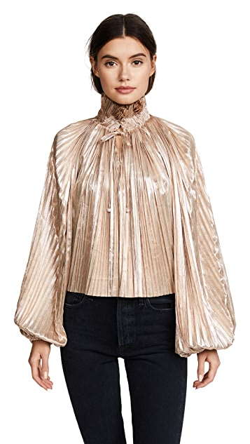 Opening Ceremony Foil Pleated Bishop Sleeve Top