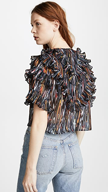 Opening Ceremony Marble Ruffle Blouse