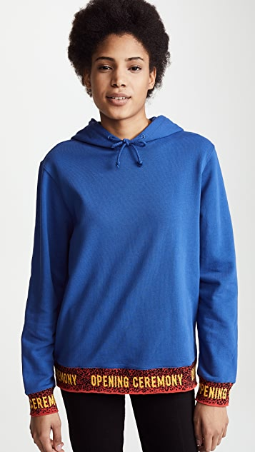 Opening Ceremony Hoodie with Elastic Logo - Railroad Blue