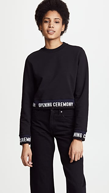 Opening Ceremony Cropped Sweatshirt with Elastic Logo