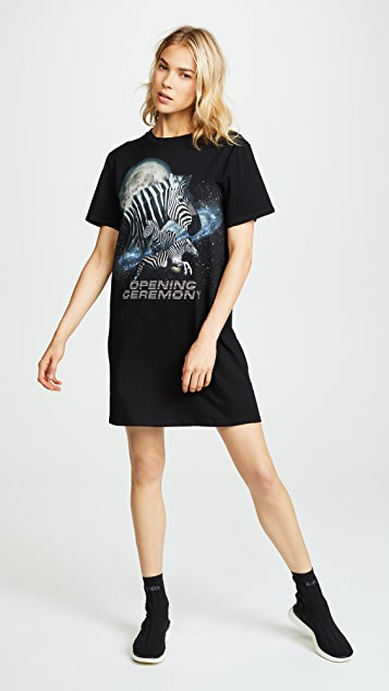 Cosmic Zebra T Shirt Dress by Opening Ceremony