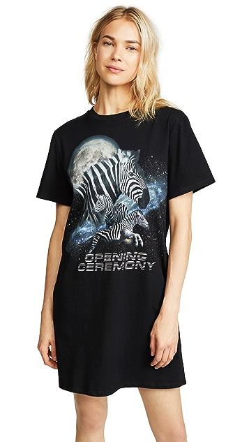 Opening Ceremony Cosmic Zebra T-Shirt Dress