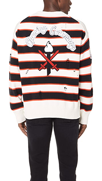 Opening Ceremony Varsity Stripe Crew Sweater