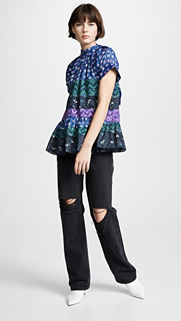 Opening Ceremony Floral Drop Ruffle Blouse