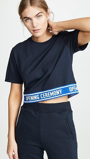 Opening Ceremony Cropped Elastic Logo Tee
