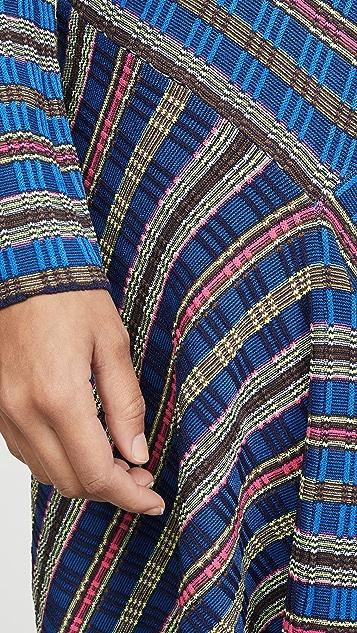 Opening Ceremony Миди-платье из трикотажа в рубчик с длинными рукавами