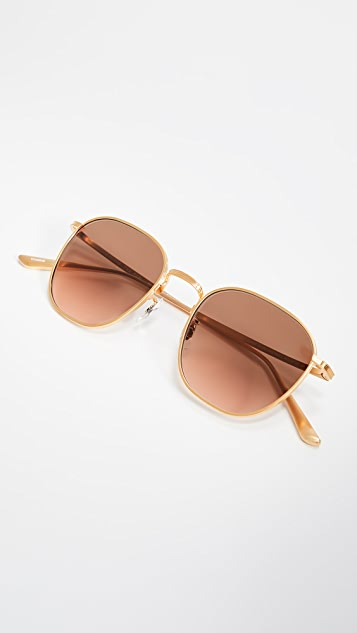 Oliver Peoples The Row Board Meeting 2 Sunglasses - Brushed Gold/Brown Gradient