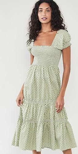 OPT - 方领抽褶长连衣裙