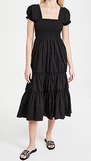 OPT Square Neck Smocked Maxi Dress