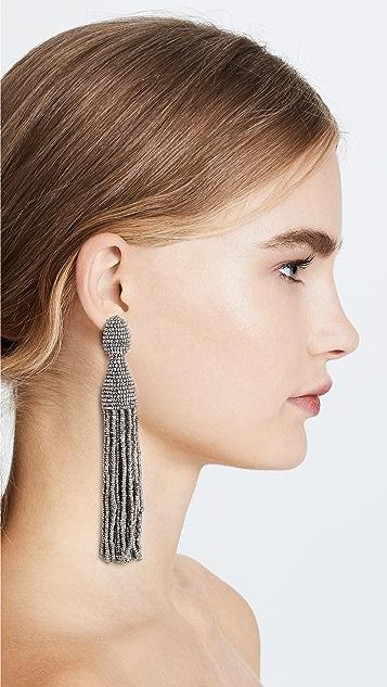 Oscar de la Renta Classic Long Tassel Clip On Earrings