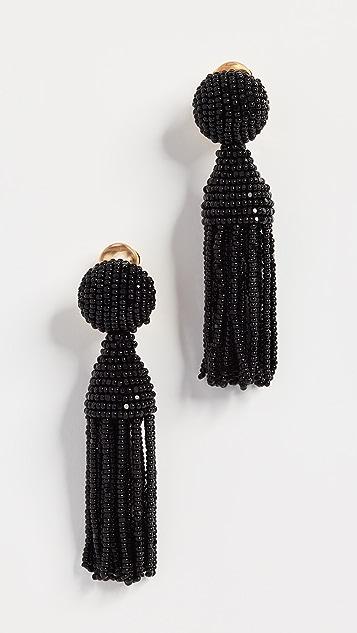 Oscar de la Renta Classic Short Tassel Earrings - Black