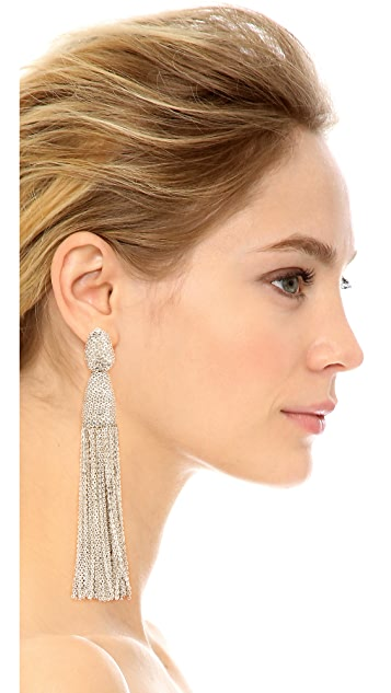 Oscar de la Renta Classic Chain Tassel Earrings