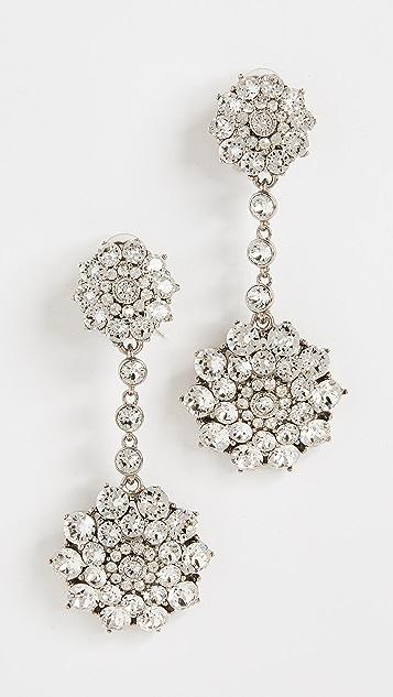 Oscar de la Renta Classic Jeweled Drop Earrings - Crystal/Silver